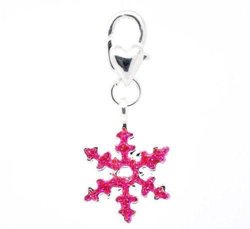 """Clip on /""""Pink Christmas Snowflake/"""" Charm Pendant"""