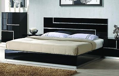 Queen Bed Bedroom Black Lacquer