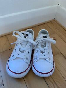 White Leather Kids Converse Low Top