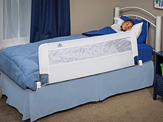 GOTOTOP Hideaway 59-Inch Extra Long Bed Rail Guard,Foldable Baby Safety Bed Guard Swing Down Bed Guardrail for Twin Bed Queen Size Bed,Blue King Bed