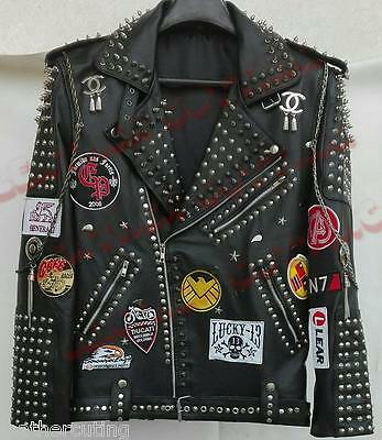 New Mens Silver Studded Beaded Steam Punk Black Biker Leather Jacket All Size