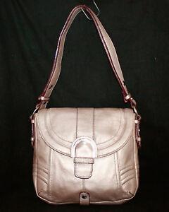 ISAAC-MIZRAHI-Gold-Pebble-Leather-Buckle-Flap-Convertible-Crossbody-Shoulder-Bag