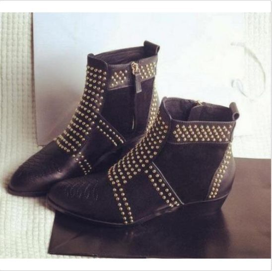 New Womens Punk Real Leather Rivet Studded Side Zipper Pull On Ankle Boots Shoes