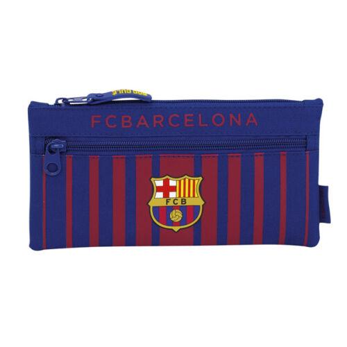 FC BARCELONA FBC TWIN PENCIL CASE COVER SCHOOL UNIVERSITY FLAT NEW GIFT XMAS