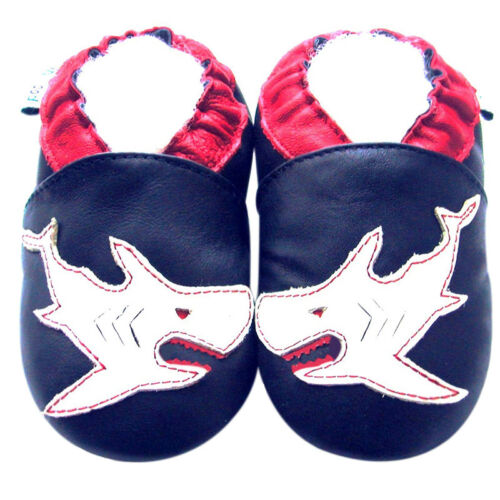 Soft Sole Leather Baby Crib Shoes Infant Kids Children Boy Shark Navy 30-36M