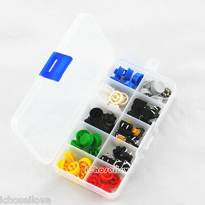 Tactile Push Button Switch Momentary Tact & Cap 12x12x7.3mm KeyCaps Assorted Kit