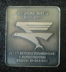 ADLER-PLAQUE-motor-veteranen-club-Erbach-1980-100-ans-Adler-85x97mm