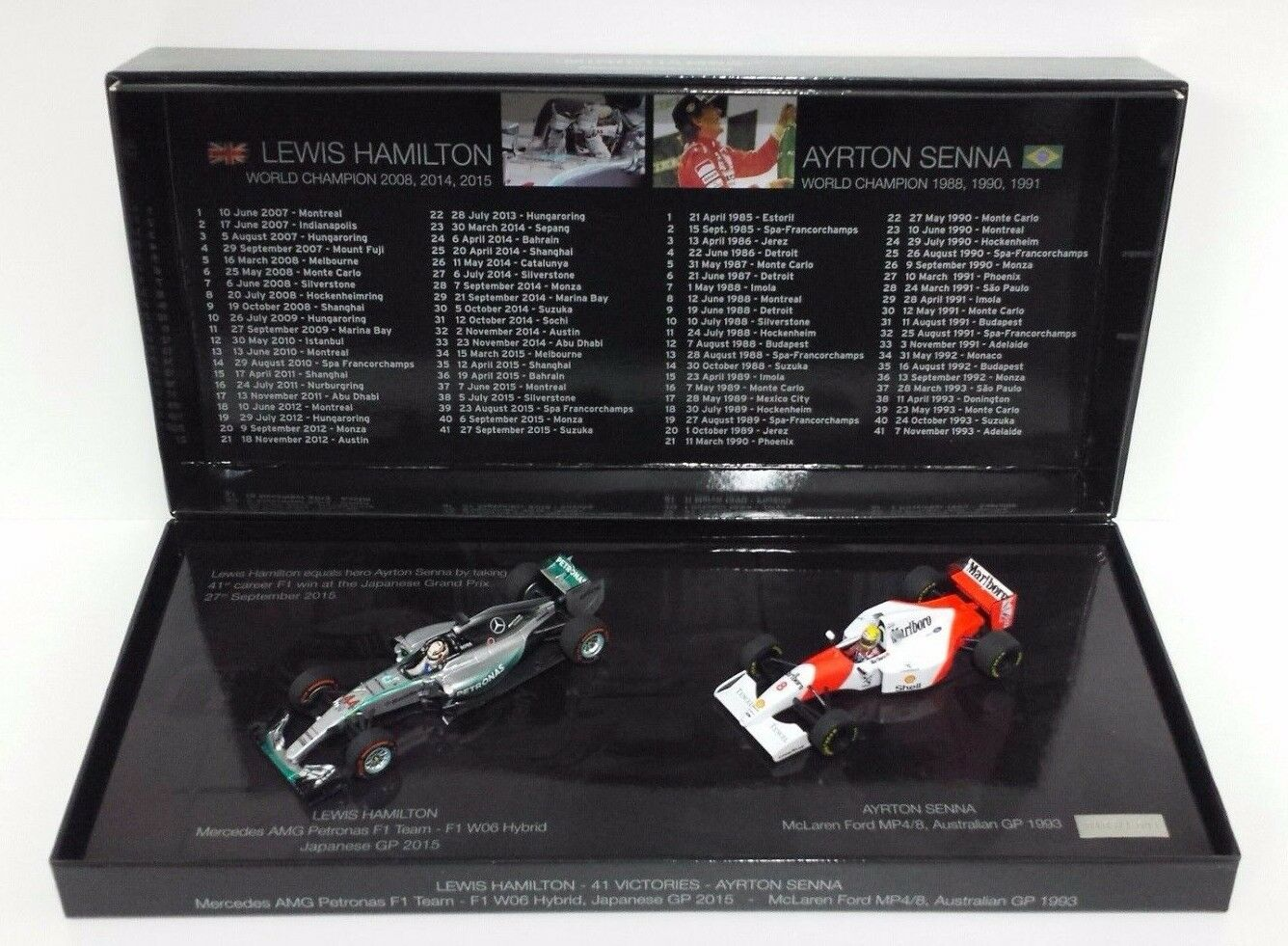 MINICHAMPS 1 43 HAMILTON SENNA COFANETTO 41 VITTORIE F1 WITH DECAL MARLBor NEW