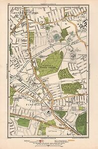 1933 LONDON MAP-FRIERN BARNET,NORTH FINCHLEY,EAST FINCHLEY,FORTIS GREEN