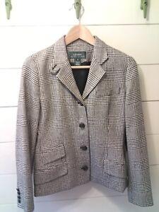 LAUREN-RALPH-LAUREN-Women-039-s-Business-Suit-Coat-Hounds-Tooth-Black-White-Size-8
