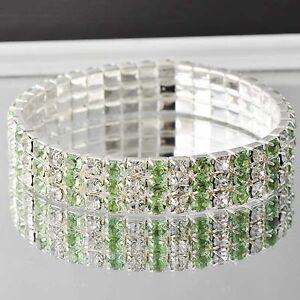 Fashion-Womens-White-GF-Silver-3-ROW-Clear-and-Green-CZ-stretch-charm-Bracelet