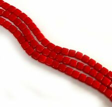 Opaque RED Coral 6mm Square Glass Czech Two Hole Tile Bead 25 Beads