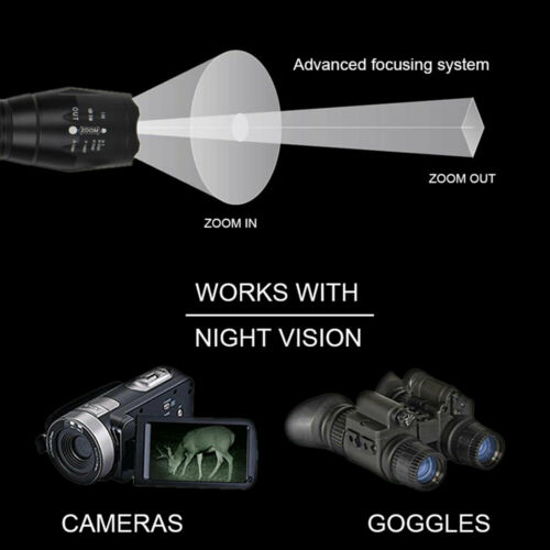 Infrared IR 940nm Night Vision LED Zoomable Flashlight Hunting Torch Lamp