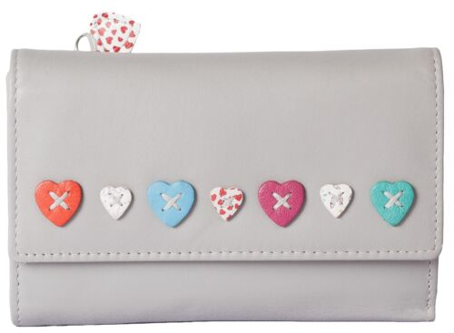 RFID MALA Leather Trifold Sac à main gris Lucy Collection Sac à main 3235 30 coeurs amour