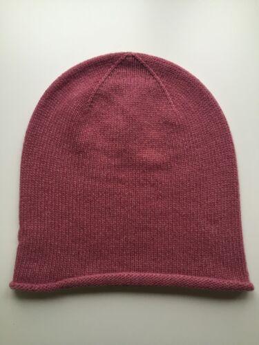 100/% Pure Cashmere Dusky Pink /'Slouch/' Beanie Hat Plain Headwear BNWT