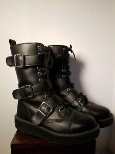 T.U.K. Black 3 Buckle Low Sole Boots V9410 Men's 8/Women's 10