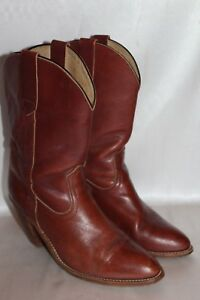 FRYE-Cognac-Antiqued-Leather-Heeled-Pull-On-Western-Cowgirl-Boots-Sz-10