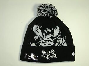 f97e7bbdd New Era NBA Charlotte Hornets Black Biggie Cuffed Pam Knit Beanie ...