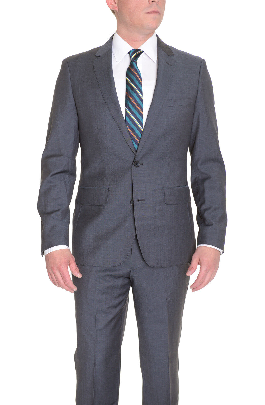 Extra Slim Fit Solid Charcoal Heather grau Two Button Wool Suit