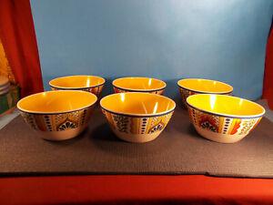 Certificed-International-Talavera-Yellow-Rust-Blue-Melamine-4-Cereal-Bowls-6-034