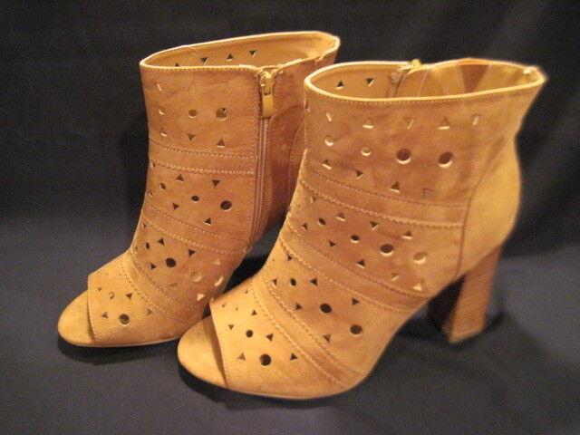 Torrid Peep Toe size 11W Cognac Laser-Cut zip-Up Booties