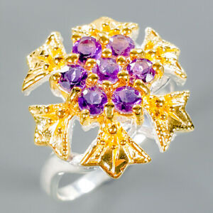 Handmade-Natural-Amethyst-925-Sterling-Silver-Ring-Size-8-75-R111939