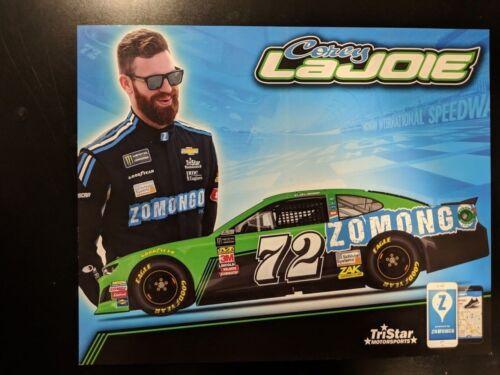 2018 Corey LaJoie Michigan Zomongo #72 NASCAR RACING POSTCARD