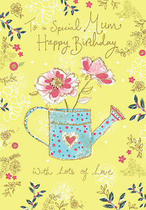 Mum-Happy-Birthday-Card-034-Watering-Can-Design-034-Size-9-00-034-x-4-75-034-MM0192