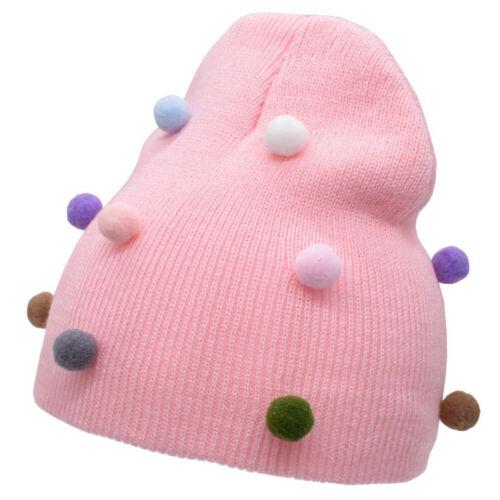 Toddler Baby Kids Knitted Beanie Hat Boys Girls Pom Pom Winter Warm Bobble Cap