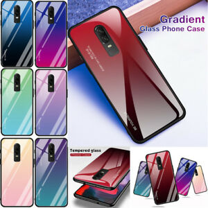 half off 5f2dc b0e67 Details about 1+6 Shockproof Hybrid Bumper Gradient Tempered Glass Case  Cover For OnePlus 6/6T