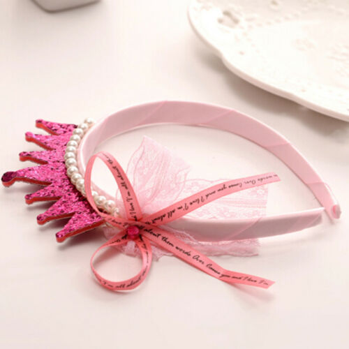 Girls Hair Bands Pearls Resin Lace Bow Ribbon Crown Princess Kids Accessories Pg