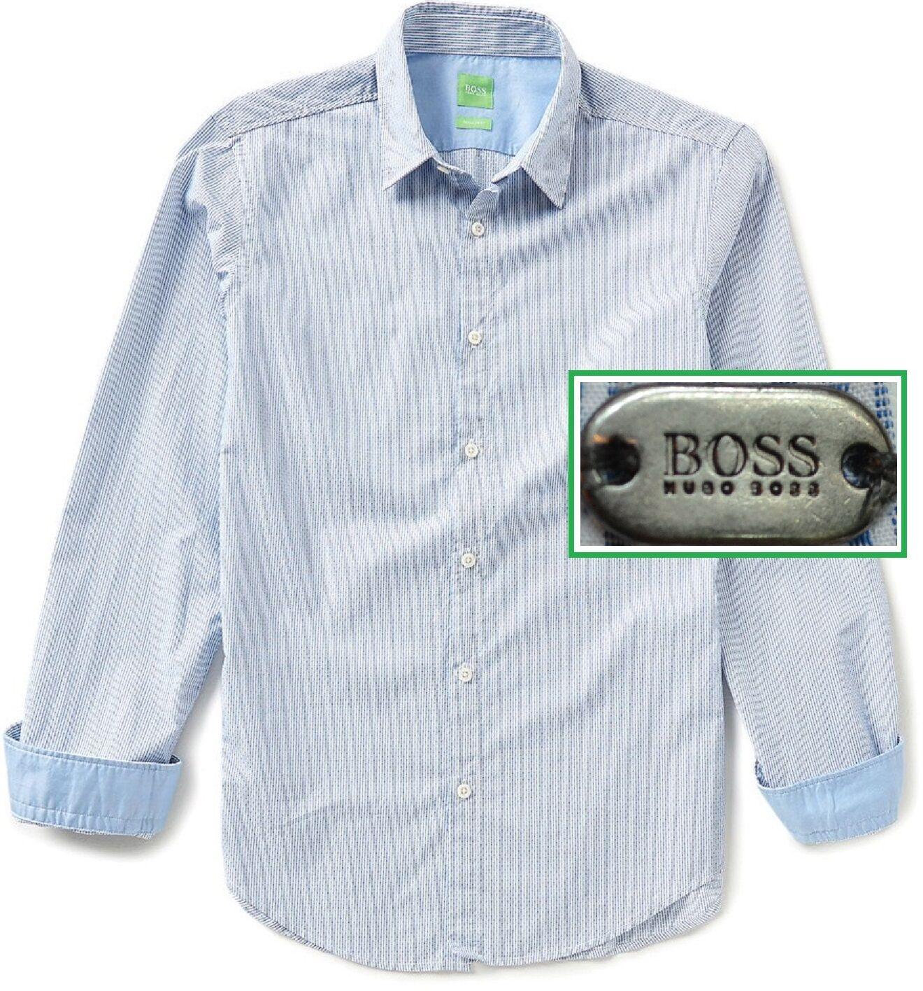 NWT Hugo Boss Green Label By Hugo Boss Modern Fit Striped Button Down Shirt