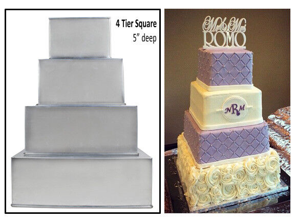 Wedding Cakes Pans.4 Tier Square Extra Deep Multilayer Wedding Cake Baking Pans Tins 5 Deep
