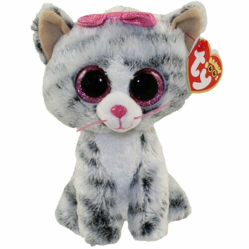 Ty Beanie Boos 6 Kiki the Grey Cat Stuffed Animal Plush MWMT's w/ Heart Tags