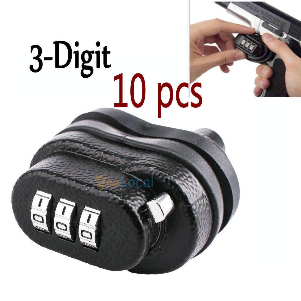 10X cerradura de combinación gatillo sin llave UNIVERSAL 3 dígitos Combo Pistola seguro robo de niños