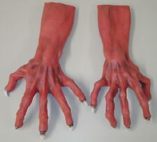 HALLOWEEN ADULT MONSTER  RED DEVIL GHOUL HANDS GLOVES MASK PROP HORROR
