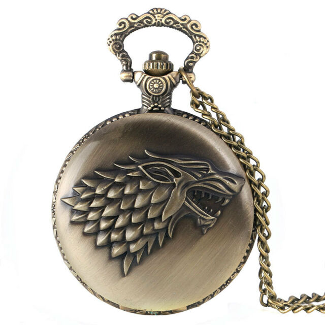 Classic Steampunk Game of Thrones House Stark Quartz Pocket Watch Chain Men Gift