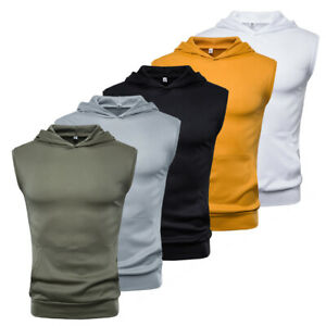 US-Mens-Muscle-Hoodie-Tank-Top-Bodybuilding-Gym-Workout-Sleeveless-Vest-T-shirt