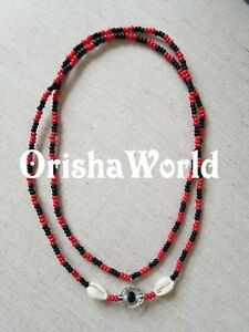 Collar-Eleke-de-Eshu-Elegua-Eleggua-Santeria-Red-Black-Spiritual-Beaded-Necklace