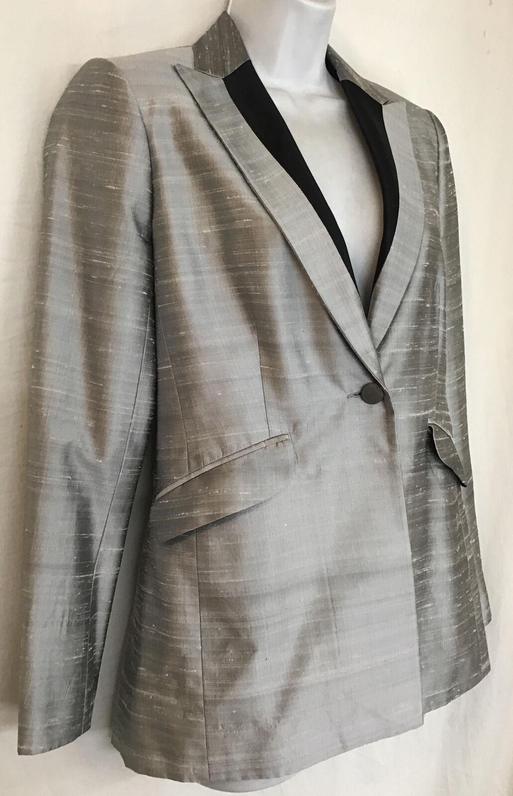 rag and bone  Suit Jacket silver gray silk peak s… - image 2