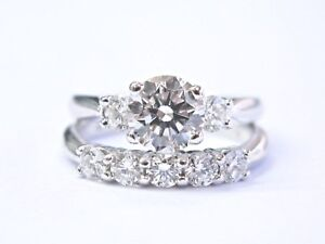 Scott-Kay-Platinum-Round-Cut-NATURAL-Diamond-Engagement-Wedding-Set-1-45Ct
