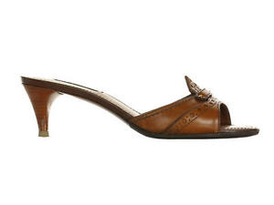 7781d4df60a1 Image is loading LOUIS-VUITTON-Brown-Leather-Slides-Size-36-5-