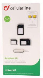 Cellularline 3in1 Adapter Set Nano-SIM und Micro-SIM Karten Nadel universal 126