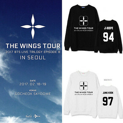 Kpop BTS The WINGS Tour Sweater Jimin Sweatershirt Bangtan Boys Hoodie Suga Jin