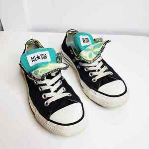 Converse All Star Low Top Double Black Sneakers Butterfly Paisley Teal Tongue 7
