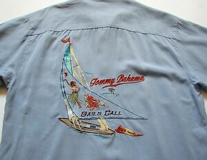 Tommy bahama mens l large silk button camp sails call for Tommy bahama embroidered silk camp shirt