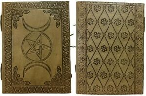 "Triple Pentagram, Triple Moon Goddess, Blank 7"" x5"" 196 Pages, Leather Journal"