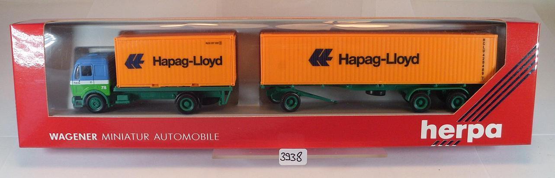 HERPA 1 87 MERCEDES BENZ containerhängerzug H. heik transporteur Hapag OVP  3938