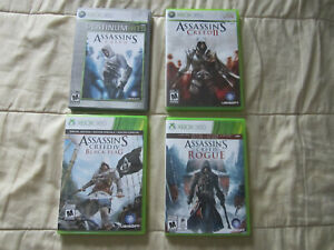 Lot of 4 Assassins Creed Games Xbox 360 - 1 2 Black Flag Rogue - Complete
