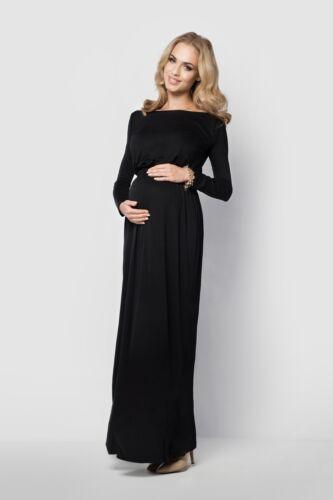 Damen Schwangerschaft Abend Maxi Langärmliges Kleid U-Boot-Ausschnitt Plus